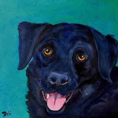 Black Lab Puppy Painting - Tank by Debi Starr