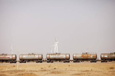 Tanker Cars And Wind Farm Print by Ashley Cooper