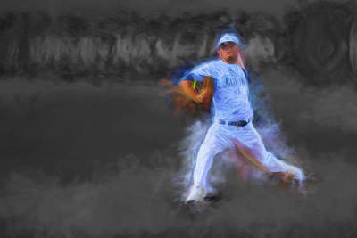 Tanner Tully Elkhart Central Blazers Pitches The Winning Game Champs 2013 Print by David Haskett