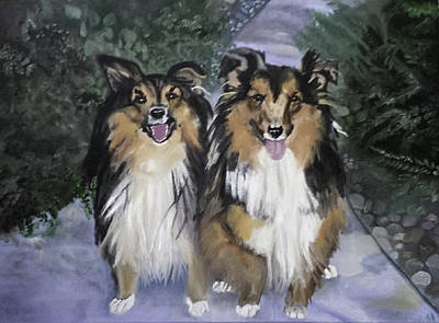 Sheltie Painting - Tanya And Tucker by Fallon Franzen