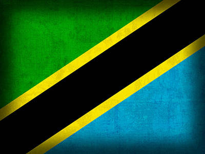Flag Mixed Media - Tanzania Flag Distressed Vintage Finish by Design Turnpike