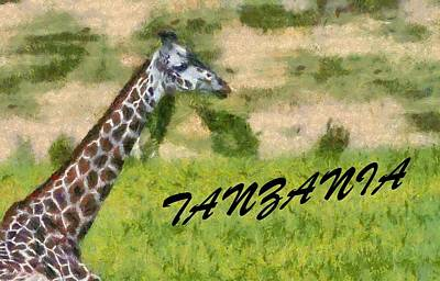 Giraffe Mixed Media - Tanzania Poster by Dan Sproul