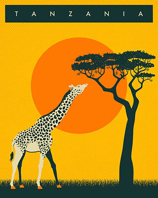 Giraffe Digital Art - Tanzania Travel Poster by Jazzberry Blue