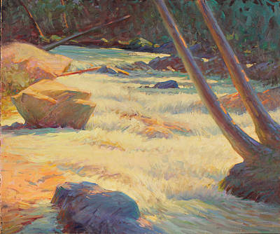 Watercolor Pencil Painting - Taos Mountain Rapids by Ernest Principato
