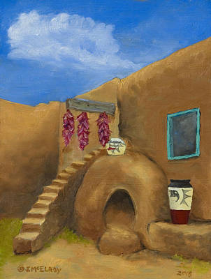 Ristra Painting - Taos Poetry by Jerry McElroy