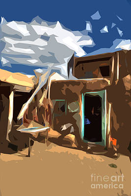 Taos Pueblo Abstract Print by K D Graves