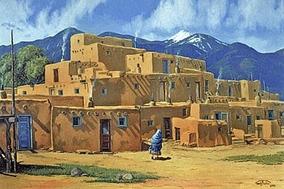 Aztec Painting - Taos Pueblo by Randy Follis