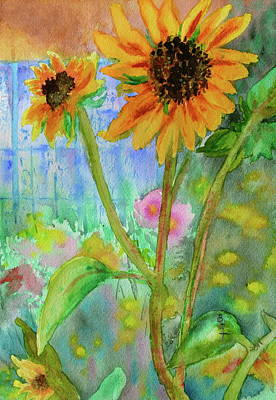 Wet On Wet Painting - Taos Sunflowers by Beverley Harper Tinsley