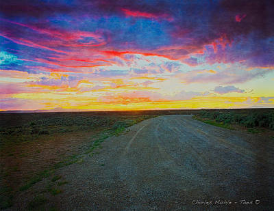 Sunset Photograph - Taos Sunset On Rice Paper by Charles Muhle