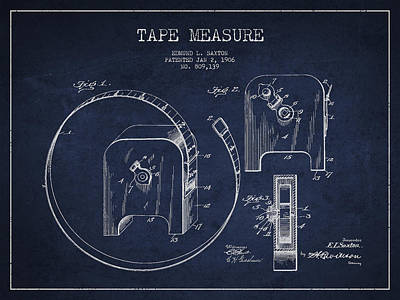 Tape Drawing - Tape Measure Patent Drawing From 1906 by Aged Pixel
