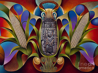 Aztec Painting - Tapestry Of Gods - Chicomecoatl by Ricardo Chavez-Mendez
