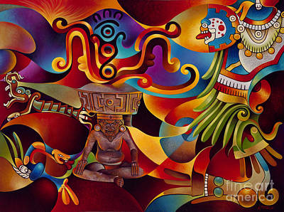 Chavez Painting - Tapestry Of Gods - Huehueteotl by Ricardo Chavez-Mendez