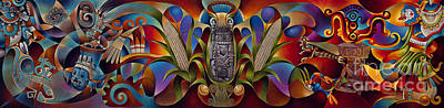 Aztec Painting - Tapestry Of Gods by Ricardo Chavez-Mendez
