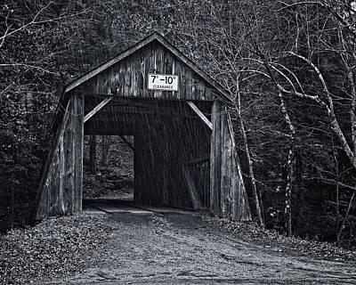 Bridge Photograph - Tappan Covered Bridge Bw by Joan Carroll