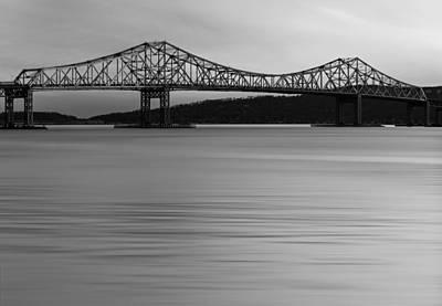 Empire State Photograph - Tappan Zee Bridge Sunset Bw by Susan Candelario