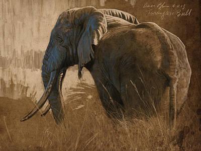Elephants Digital Art - Tarangire Bull by Aaron Blaise