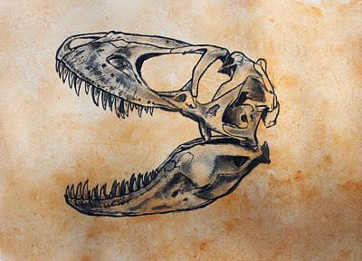 Dinosaur Painting - Tarbosaurus Skull by Harm  Plat
