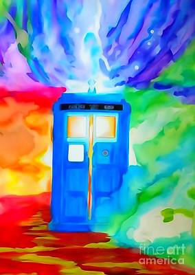 Justin Moore Drawing - Tardis Watercolor Edition by Justin Moore