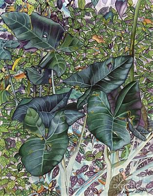 Tropical Art Painting - Taro Garden by DK Nagano