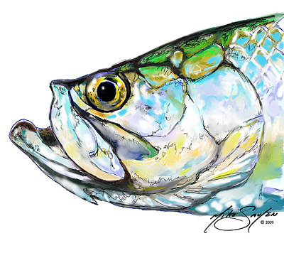 Flyfishing Painting - Tarpon Portrait by Savlen Art