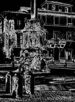 Tarquinia Scorcio Piazza Con Fontana Foto Grafica Negativo Print by Giuseppe Cocco