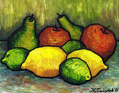 Abstract Lemons Painting - Tasty Fruits by Kamil Swiatek
