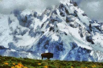 Yellowstone Mixed Media - Tatanka Buffalo In Wyoming by Dan Sproul