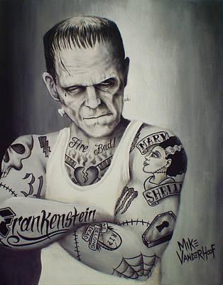 Dracula Painting - Tattooed Frankenstein By Mike Vanderhoof by Mike Vanderhoof