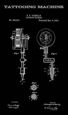 Tattooing Machine 3 Patent Art 1891 Print by Daniel Hagerman