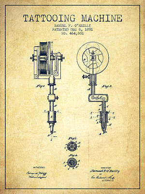 Pen Drawing - Tattooing Machine Patent From 1891 - Vintage by Aged Pixel