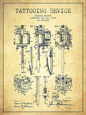 Old Blueprint Digital Art - Tattooing Machine Patent From 1904 - Vintage by Aged Pixel