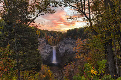 Taughannock Falls Autumn Sunset Print by Michele Steffey