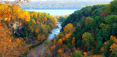 Taughannock River Canyon In Colorful Autumn Ithaca New York Panoramic Photography  Print by Paul Ge