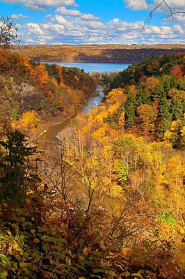 Taughannock River Canyon In Colorful Fall Ithaca New York Print by Paul Ge