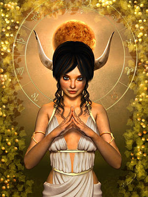 Goddess Mythology Mixed Media - Taurus by Britta Glodde