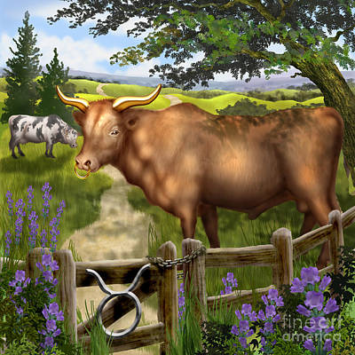 Bull Digital Art - Taurus by Ciro Marchetti