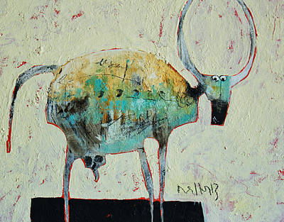 Outsider Art Painting - Taurus No 6 by Mark M  Mellon