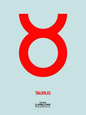 Pisces Zodiac Digital Art - Taurus Zodiac Sign Red by Naxart Studio