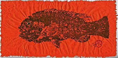 Tautog On Sienna Thai Unyru / Mulberry Paper Print by Jeffrey Canha