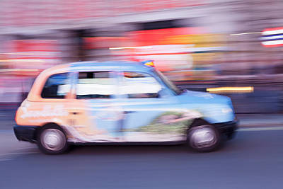 Taxi On Road At Night, Piccadilly Print by Panoramic Images