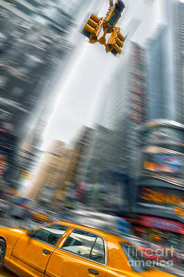 Times Square Photograph - Taxi On Times Square by Delphimages Photo Creations