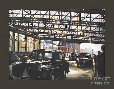 Queue Painting - Taxi-waterloo. by Caroline Beaumont