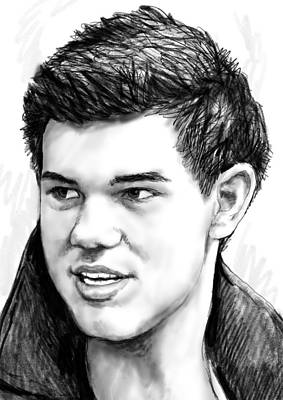 Taylor-lautner Art Drawing Sketch Portrait Print by Kim Wang