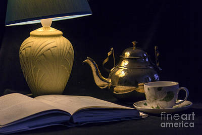 Table Lamp Photograph - Tea And A Good Book by Brian Roscorla