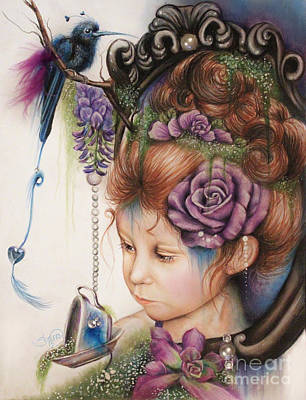 Little Girls Mixed Media - Tea And Periwinkle by Sheena Pike