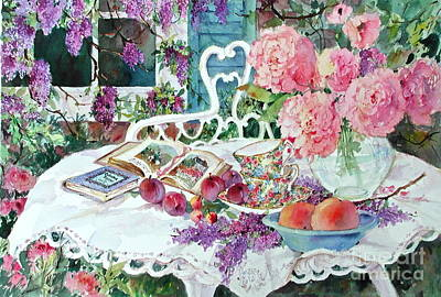 Outdoor Still Life Painting - Tea And Wisteria by Sherri Crabtree