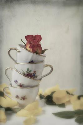 Tea Cups With Rose Print by Joana Kruse