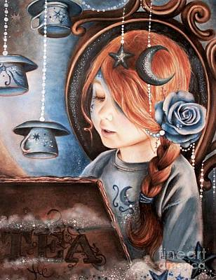 Redhead Mixed Media - Tea In The Moonlight by Sheena Pike