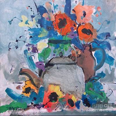 Tea Kettle And Sunflowers Print by Micheal Jones