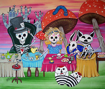 Mad Hatter Painting - Tea Party Day Of The Dead Alice In Wonderland by Julie Ellison